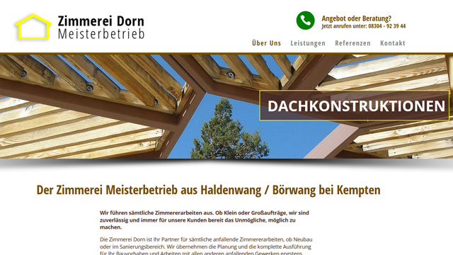 Webdesign Augsburg für Zimmerer