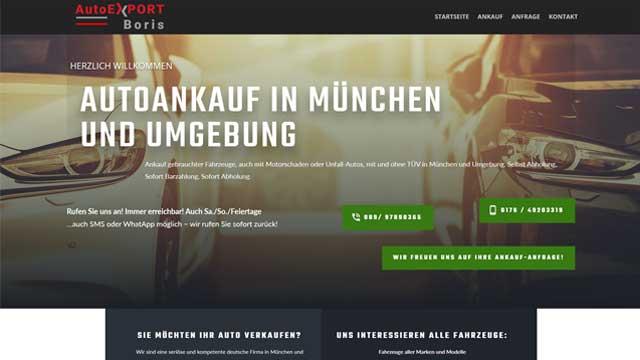 Professionelle Homepage für Autoankauf und Autoexporteur in München